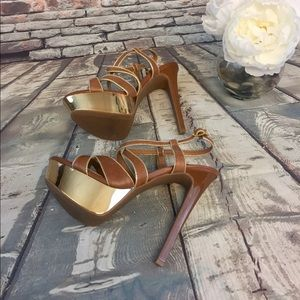 Brown Leather Strappy Gold Accent Platform Heels